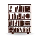 Bibliothèque avec des livres sur des étagères, silhouette brune sur le backgr blanc Image libre de droits