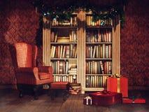 Bibliothèque de cru avec des cadeaux de Noël illustration de vecteur