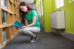 Bibliothèque de Reading Book In d'étudiant Photographie stock libre de droits