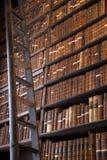 Bibliothèque de vintage avec l'échelle en bois photographie stock