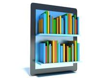 Bibliothèque en ligne sur le comprimé Photographie stock libre de droits