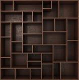 Bibliothèque foncée avec des étagères d'isolement sur le fond blanc Images libres de droits