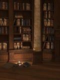 Bibliothèque illuminée par des bougies Image libre de droits