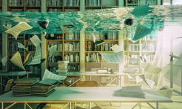 Bibliothèque inondée 3d Photographie stock