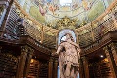 Bibliothèque nationale autrichienne de visite à Vienne, tête d'Austria's images stock