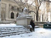 Bibliothèque publique de New York en hiver Image stock