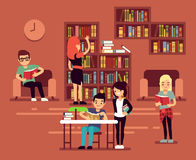 Bibliotheca, school library interior with student vector illustration Royalty Free Stock Photography