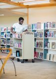 Bibliothecaris With Trolley Books Stock Afbeelding