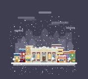 Bibliotheek in een de winterstad royalty-vrije illustratie