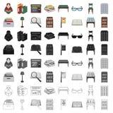 Bibliotheek en boekhandel vastgestelde pictogrammen in beeldverhaalstijl Grote inzameling van bibliotheek en boekhandel vectorsym Royalty-vrije Stock Afbeelding