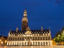 Bibliotheek en Klokketoren in Leuven bij Nacht royalty-vrije stock afbeeldingen