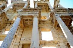 Bibliotheek in Ephesus, Turkije stock foto's