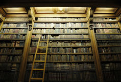 Bibliotheek met ladderhoogtepunt van oude bijbels Royalty-vrije Stock Afbeeldingen