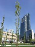 Bibliotheek van bomen, het nieuwe park die van Milaan Palazzo-della Regione Lombardia, wolkenkrabber overzien 29 maart, 2017 Royalty-vrije Stock Foto's