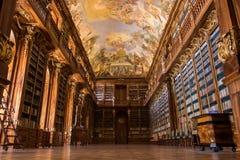 Bibliotheek van Strahov-Klooster in Praag, Tsjechische Republiek stock foto
