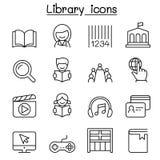 Bibliotheekpictogram in dunne lijnstijl die wordt geplaatst Royalty-vrije Stock Afbeeldingen