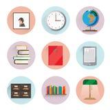 Bibliotheekpictogrammen Stock Foto