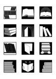 Bibliotheekpictogrammen die in zwarte worden geplaatst royalty-vrije illustratie