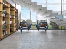 Bibliotheekplanken met boeken in de eigentijdse ruimte en de grote vensters, onder de treden stock illustratie