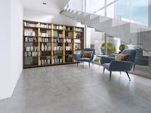 Bibliotheekplanken met boeken in de eigentijdse ruimte en de grote vensters, onder de treden vector illustratie