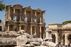 Bibliothek von Celsius, Ephesus Stockbilder