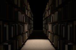 Bibliotheks-Bücherregal-Gang Stockbild