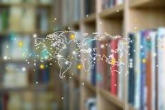Bibliotheks- und Weltillustration Stockbild