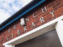 Bibliotheksaußenstellegebäude stockbild