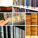 Bibliothekscollage Stockbild