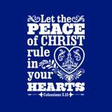 Biblische Illustration Lassen Sie den Frieden von Christus in Ihren Herzen anordnen vektor abbildung