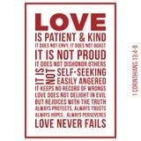 Biblische Phrase von 1 Korinther13:8, lieben ausfällt nie stock abbildung