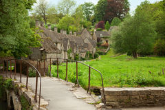 Bibury. Traditional Cotswold cottages in England, UK. spring Royalty Free Stock Image