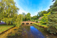 Bibury Village, England. Bridge cross the canal in Bibury Village, Cotswolds, Gloucestershire, England, United Kingdom Royalty Free Stock Photo