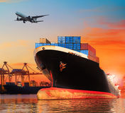 Bic commercial ship in import,export pier use for vessel transpo Stock Photo