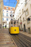 Bica tram in Lisbon Portugal. Bica tram driving in Lisbon Portugal Stock Photography