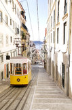 Lisbon - Bica Yellow Tram in the Morning Stock Photo