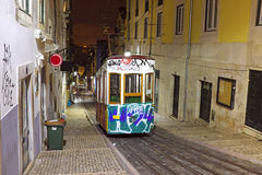 Bica tram by night in Lisbon Portugal Royalty Free Stock Photography