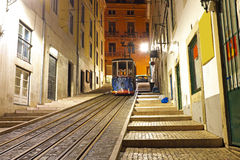 Bica tram by night in Lisbon Portugal Royalty Free Stock Photos