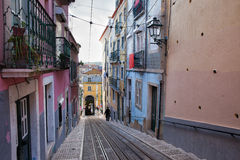 Bicakabelbaan in Lissabon Stock Foto
