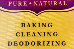 Bicarbonate de soude de d?sodorisation de nettoyage de cuisson de label photographie stock libre de droits