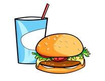 Bicarbonate de soude et hamburger Photos libres de droits
