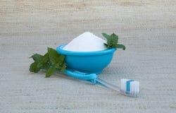 Bicarbonato de sódio na bacia de turquesa, na escova de dentes e na hortelã fresca Fotos de Stock