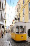 Bica Cable Car - Typical Lisbon Yellow Trams Royalty Free Stock Photos