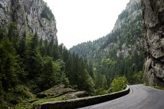 Bicaz Canyon. Canyon is one of the most spectacular roads in Romania. BICAZ GORGES, ROMANIA: Bicaz Canyon. Canyon is one of the most spectacular roads in royalty free stock photo