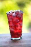 Bicchiere d'acqua e succo pieni con ghiaccio sul cou di legno della cucina Fotografia Stock