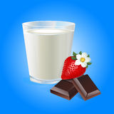 Bicchiere di latte con il vettore delle fragole e del cioccolato Immagine Stock Libera da Diritti