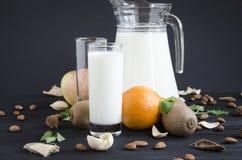 Bicchiere di latte con la menta dei dadi della frutta Fotografie Stock Libere da Diritti