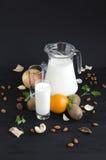 Bicchiere di latte con la menta della frutta Fotografia Stock Libera da Diritti