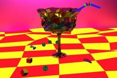 Bicchiere di vino dipinto surrealista psichedelico luminoso Fotografie Stock
