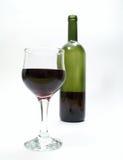 Bicchiere di vino e bottiglia Fotografia Stock Libera da Diritti